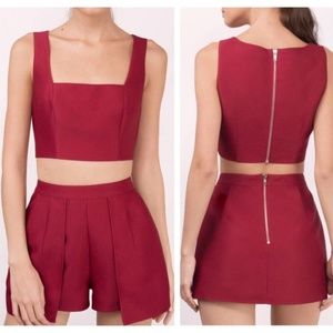 NWT Tobi Kehlani Wine Two Piece Romper Set – M